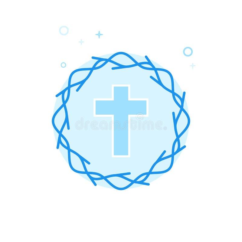 Krona av den plana vektorsymbolen för taggar, symbol, Pictogram, tecken Ljust - blå monokrom design Redigerbar slaglängd royaltyfri illustrationer