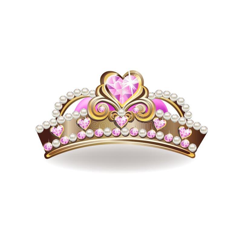 Krona av en prinsessa med pärlor och rosa färggemstones vektor illustrationer