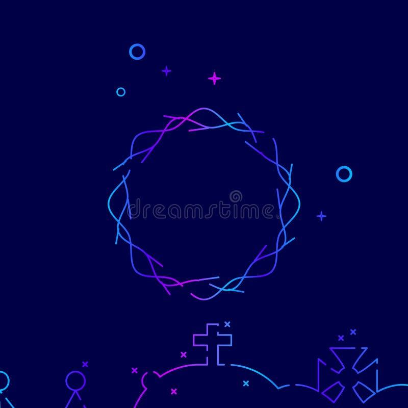 Krona av taggvektorlinjen symbol, symbol, Pictogram, tecken på ett mörkt - blå bakgrund Släkt nedersta gräns stock illustrationer