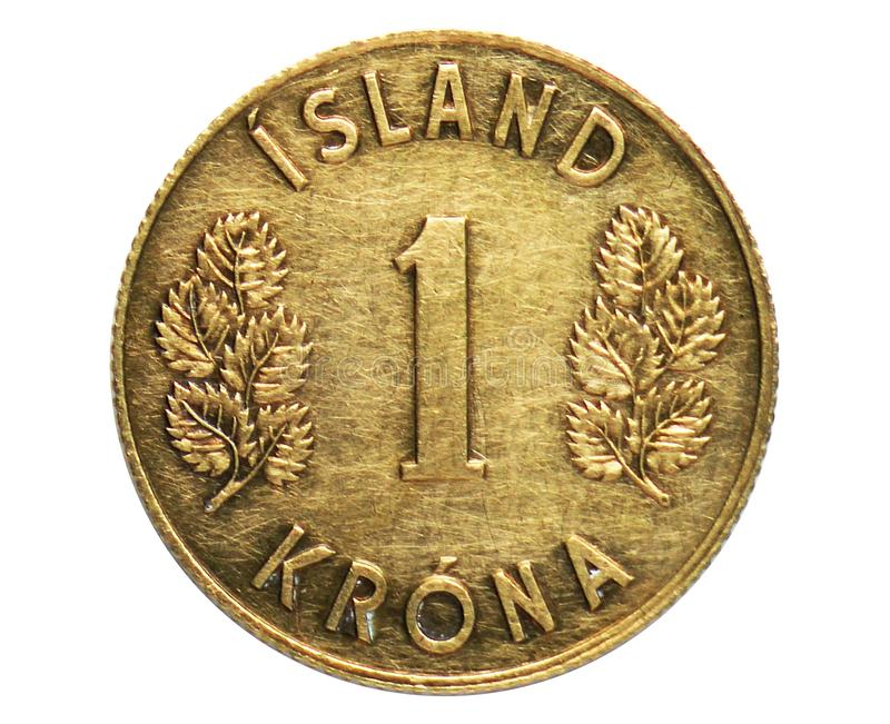 1 Krona Coat of Arms coin, 1922~1980 - Króna - Circulation serie, Bank of Iceland. Obverse, issued on 1957. Isolated on white royalty free stock photography
