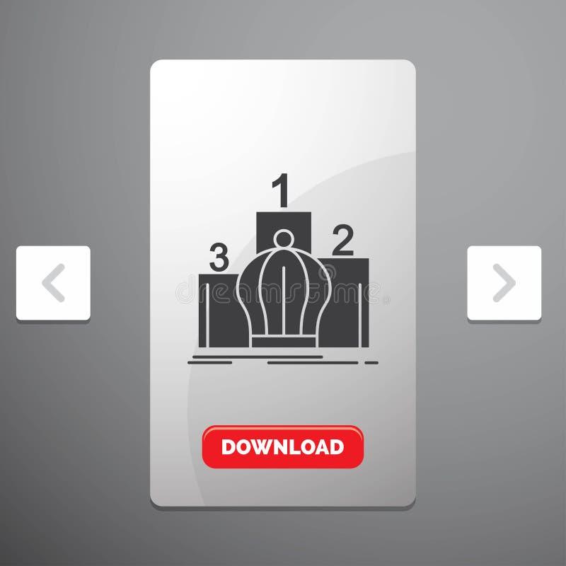 Krona, konung, ledarskap, monarki, kunglig skårasymbol i design för Carousalpagineringsglidare & röd nedladdningknapp vektor illustrationer