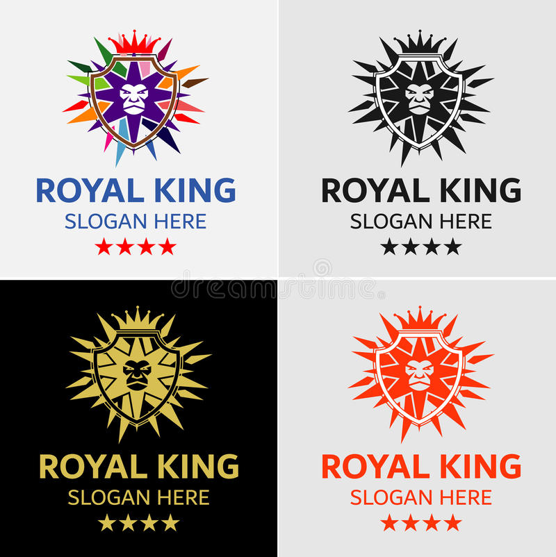 Krona Lion King Crest Logo Template vektor illustrationer