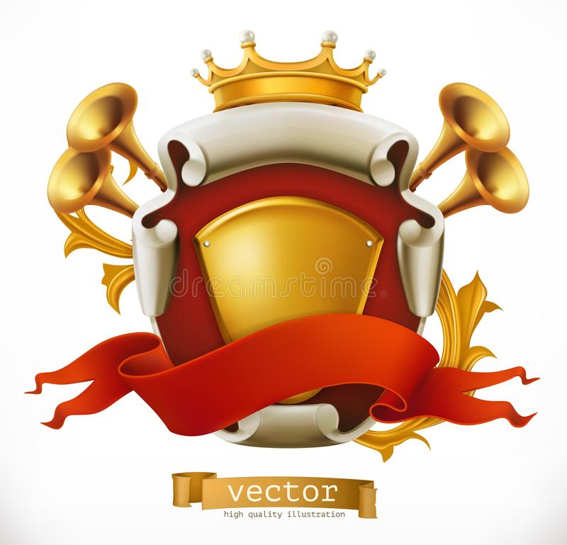 Krona och sköld konung gears symbolen stock illustrationer