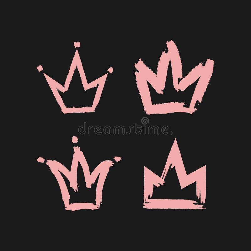 Krona som målas med en grov borste Fyra rosa symboler som isoleras på svart bakgrund vektor illustrationer