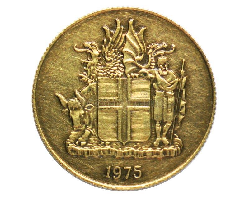 1 Krona vapensköldmynt, 1922~1980 - Króna - cirkulationsserie, bank av Island arkivfoton