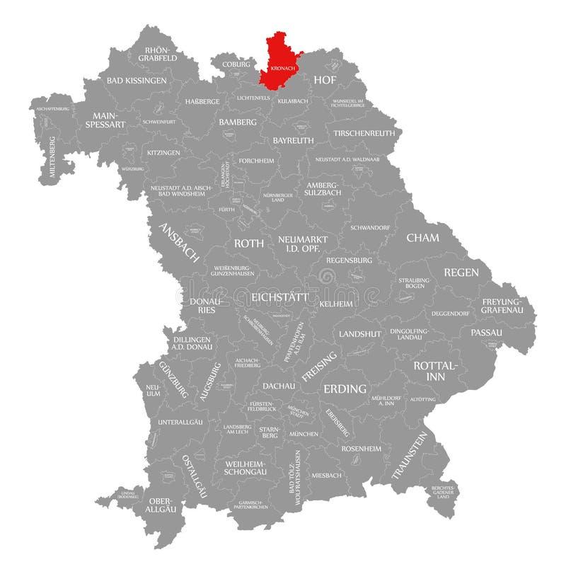 Kronach okręgu administracyjnego czerwień podkreślająca w mapie Bavaria Niemcy royalty ilustracja