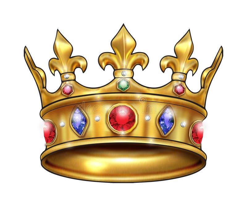 kronaguld pryder med pärlor röda rubies royaltyfri illustrationer