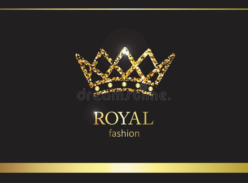kronaguld pryder med pärlor röda rubies Lyxig etikett, emblem eller emballage com för alternativet colldet10709 colldet10711 plan royaltyfri illustrationer