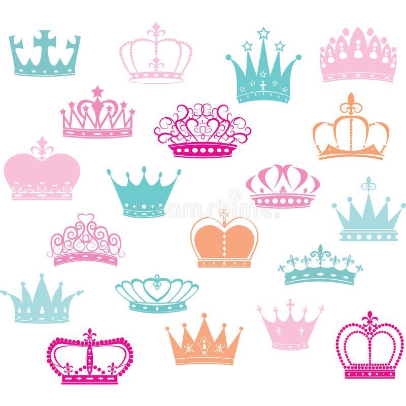 Kronakontur, prinsessa Crown royaltyfri illustrationer