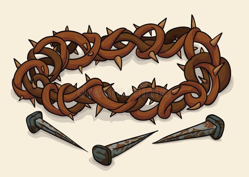 Kronan av taggar och spikar för långfredagen, vektorillustration stock illustrationer