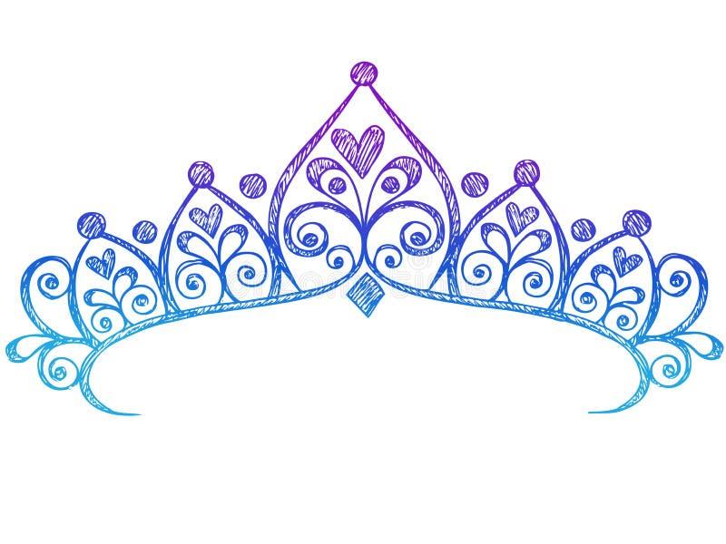 kronan klottrar den sketchy tiaraen för anteckningsbokprincessen vektor illustrationer
