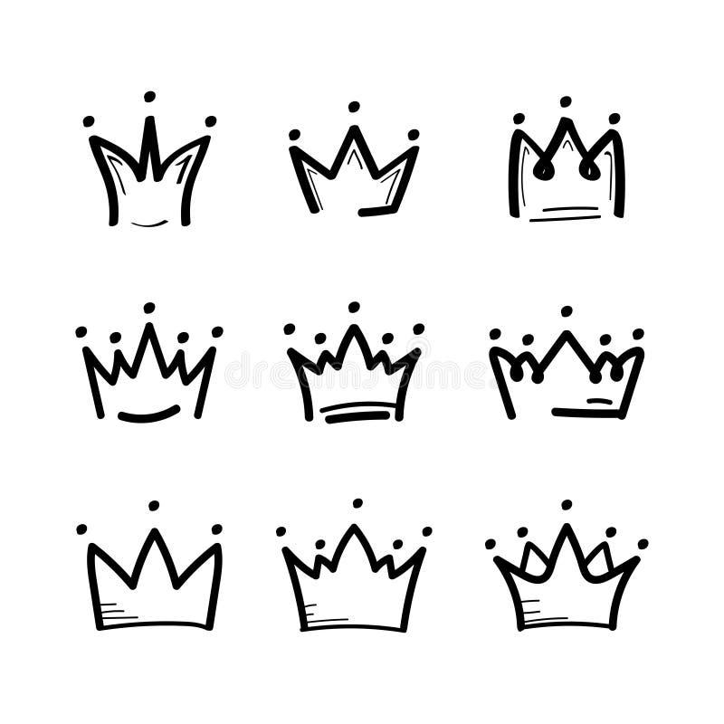 Kronan ställde in skissar in attraktionstil Konungkronasymbol vektor vektor illustrationer