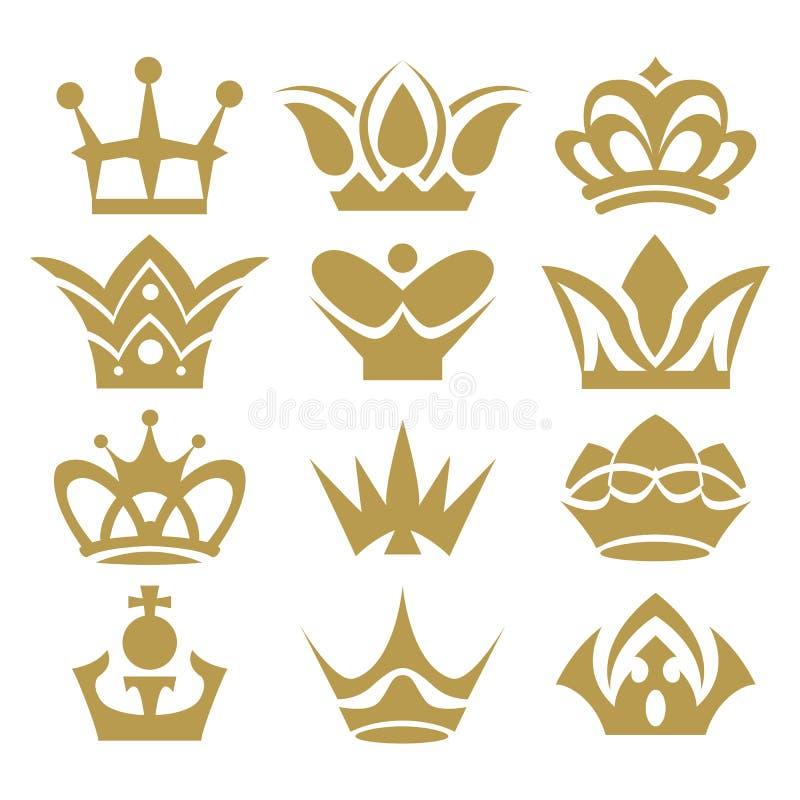 Kronasamling (kronauppsättning, konturkronauppsättningen) royaltyfri illustrationer