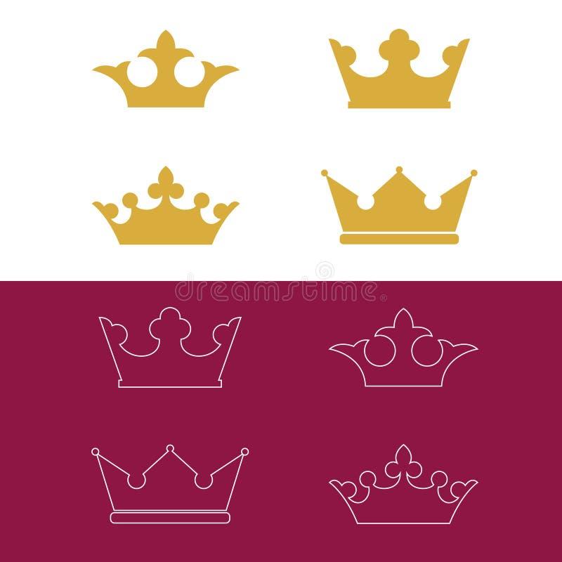 Kronasymboler royaltyfri illustrationer