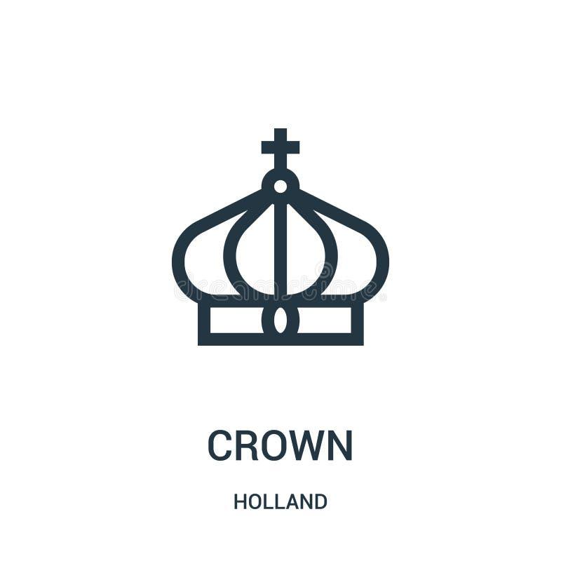 kronasymbolsvektor från den holland samlingen Tunn linje illustration för vektor för kronaöversiktssymbol Linjärt symbol för bruk royaltyfri illustrationer