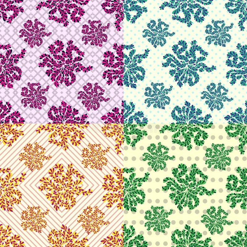 Kronblad av blommauppsättningen av 4 färgade sömlösa geometriska modeller för vektor på bakgrunden stock illustrationer