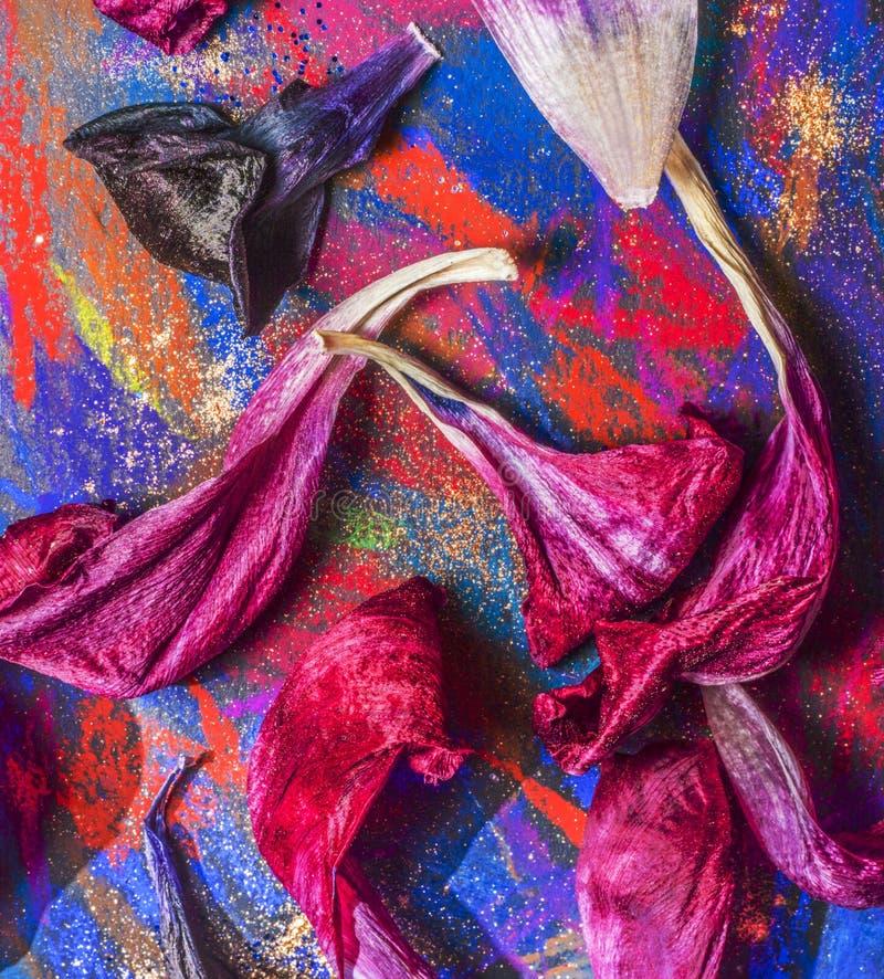 Kronblad på paletten arkivfoto