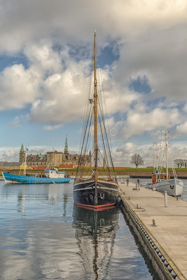 Kronborg Castle From the Harbour. Kronborg castle made famous by William Shakespeare in his play about Hamlet situated in the Danish harbour town of Helsingor stock images
