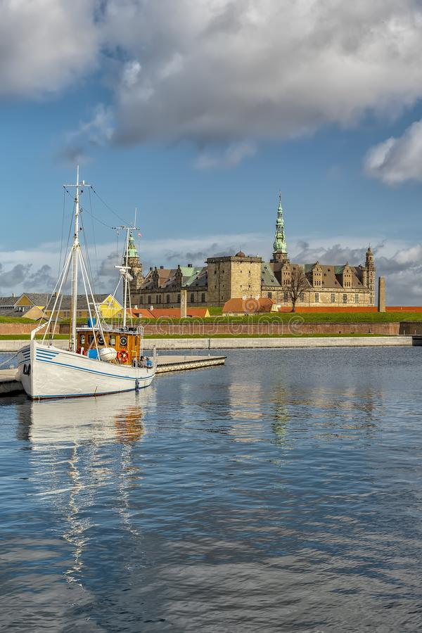 Kronborg Castle View From Port. Kronborg castle made famous by William Shakespeare in his play about Hamlet situated in the Danish harbour town of Helsingor royalty free stock images