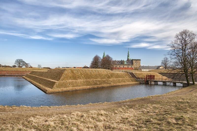 Kronborg slott från den yttre vallgraven royaltyfri bild