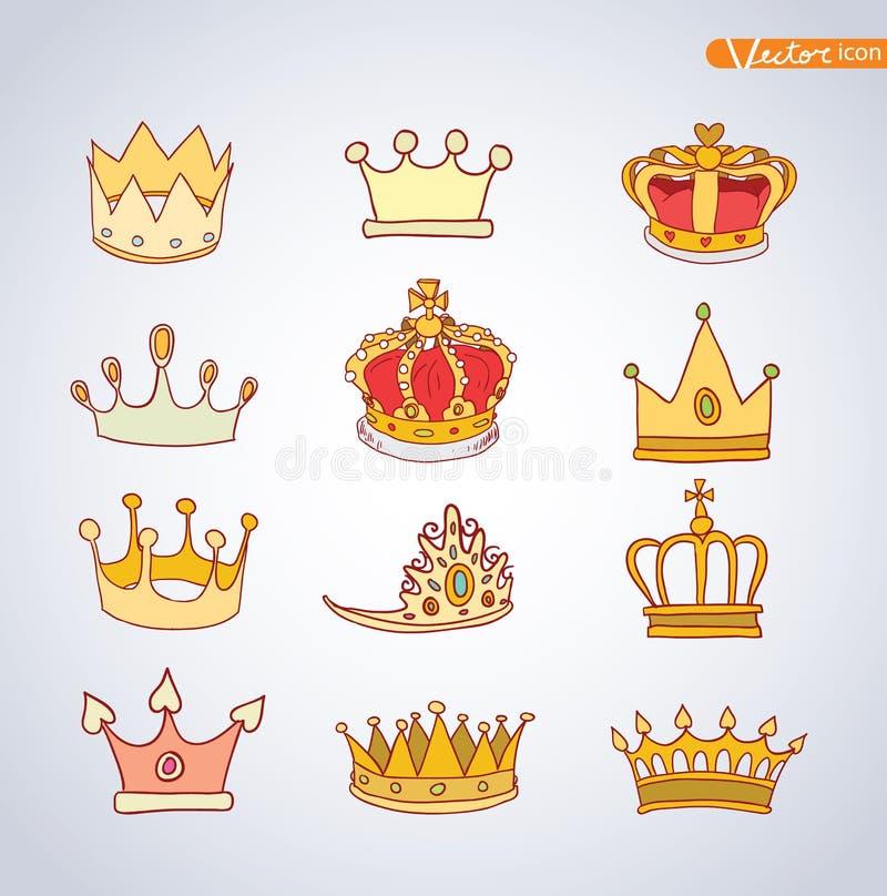 Krone, gezeichneter Vektor des Vektors Hand lizenzfreie abbildung