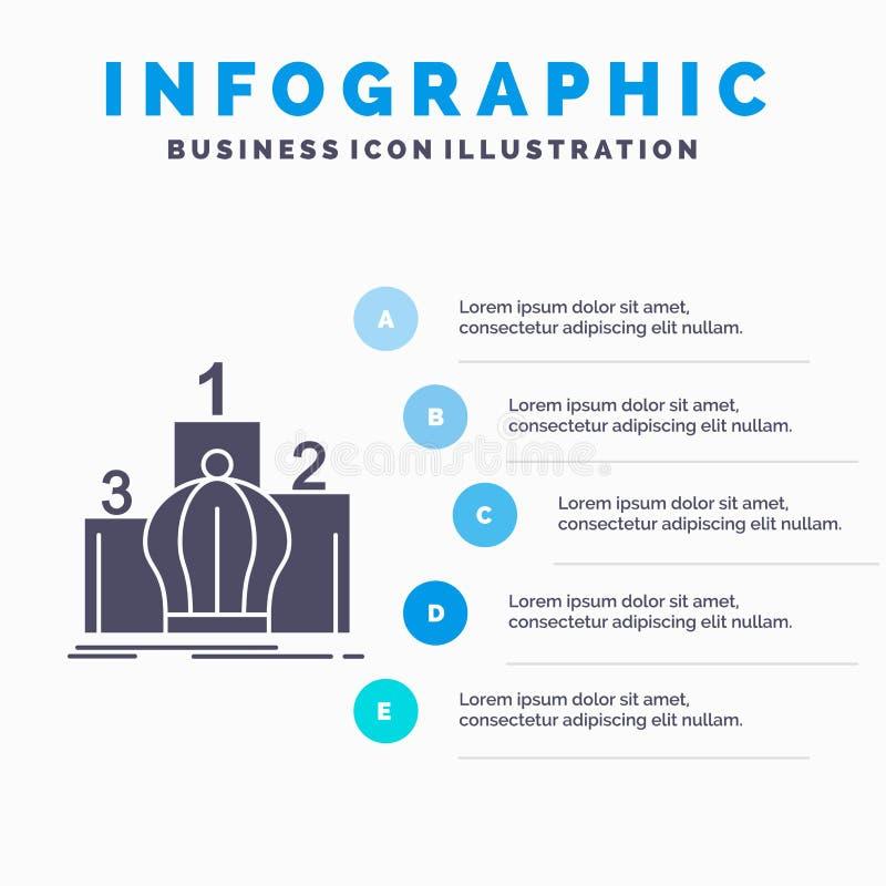 Krone, König, Führung, Monarchie, königliche Infographics-Schablone für Website und Darstellung Graue Ikone des GLyph mit blauem  stock abbildung