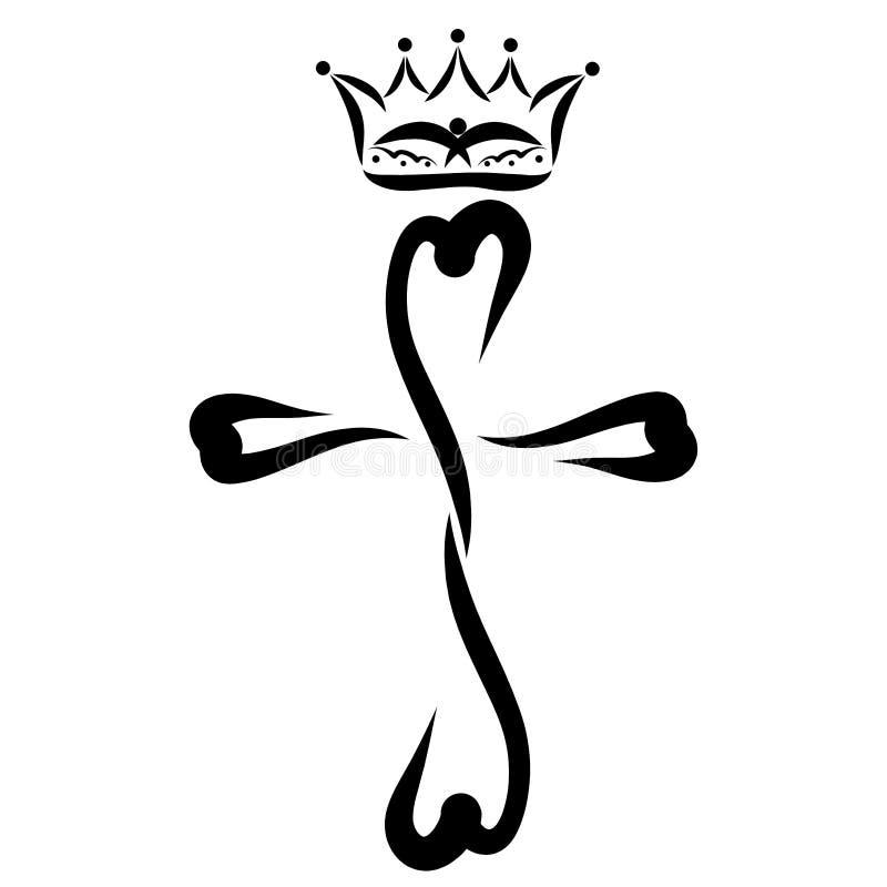 Krone mit einem fliegenden Vogel über einem Kreuz von Herzen stock abbildung