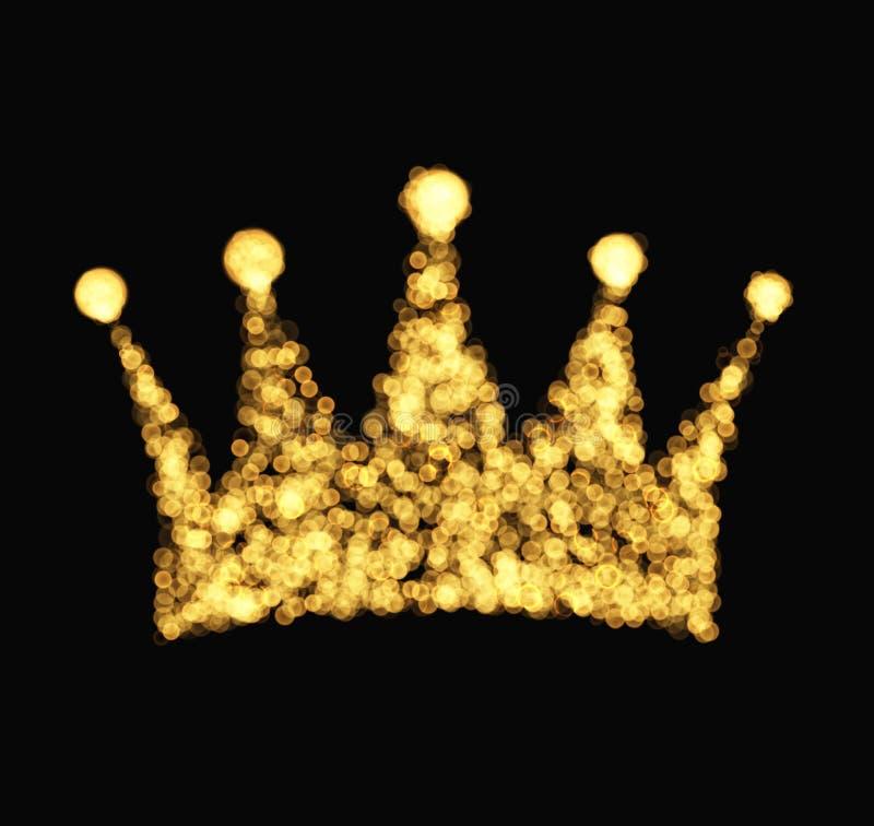 Krone mit Strahlnillustrationsluxusweinleseart stock abbildung