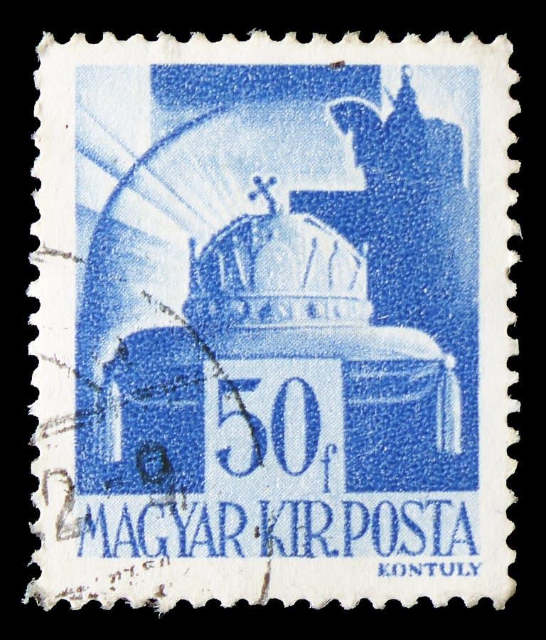 Krone von St Stephen, von Charakteren und von Relikten des ungarischen Geschichte-serie, circa 1943 stockbilder