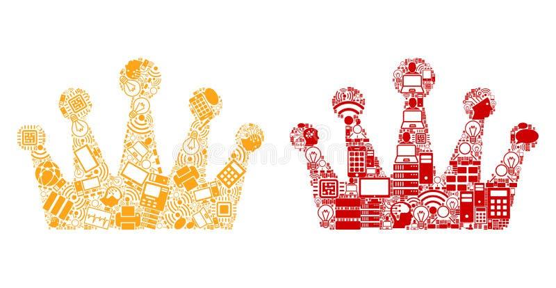 Kronen-Mosaik-Ikonen für BigData stock abbildung