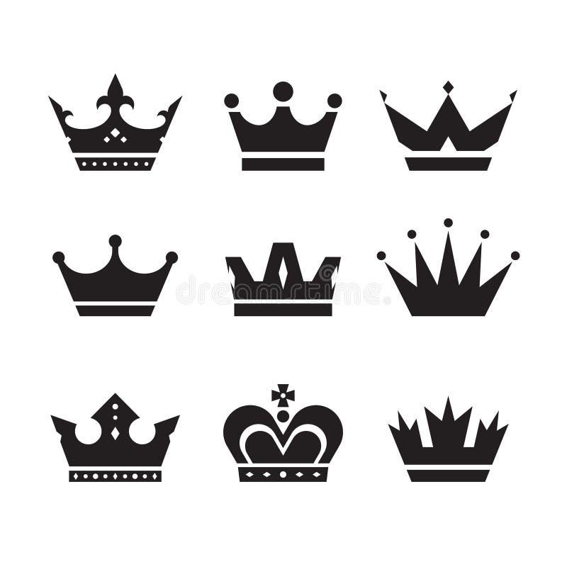 Kronenvektorikonen eingestellt Kronenzeichensammlung Schwarze Schattenbilder der Kronen Vier Schneeflocken auf weißem Hintergrund lizenzfreie abbildung
