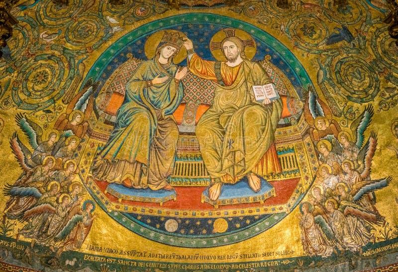 Kroning van Virgin, mozaïek door Jacopo Torriti in de Basiliek van Santa Maria Maggiore in Rome, Italië royalty-vrije stock fotografie