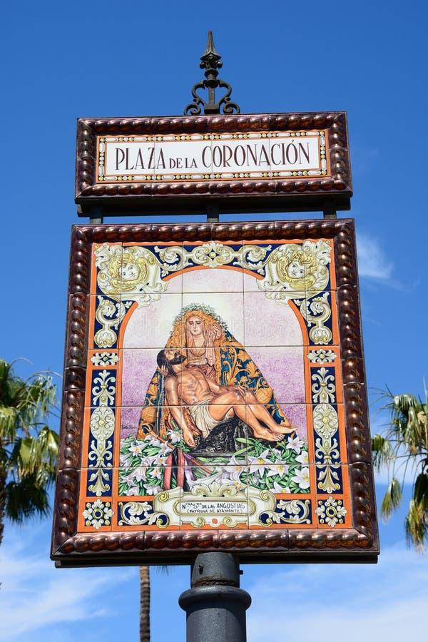 Kronings Vierkant teken, Ayamonte stock fotografie