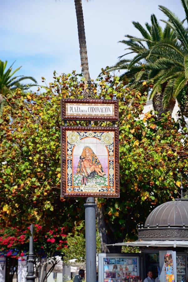Kronings Vierkant teken, Ayamonte royalty-vrije stock afbeelding