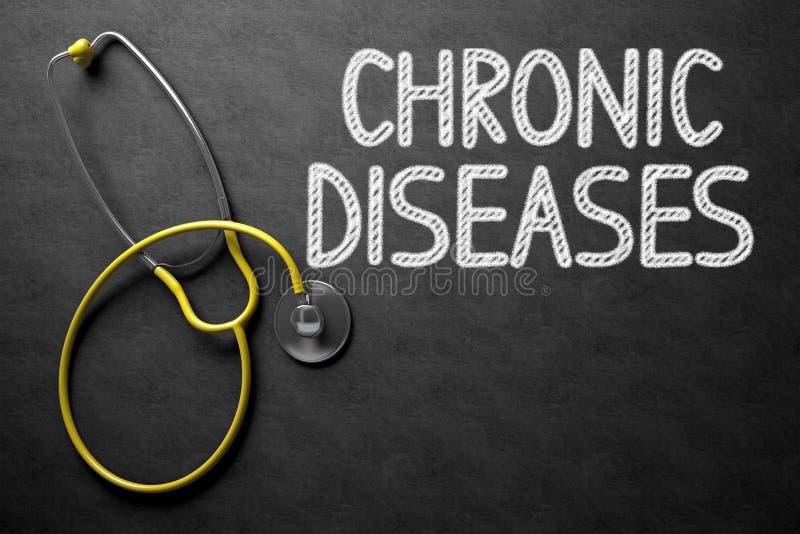Kroniska sjukdomar som är handskrivna på den svart tavlan illustration 3d royaltyfria foton