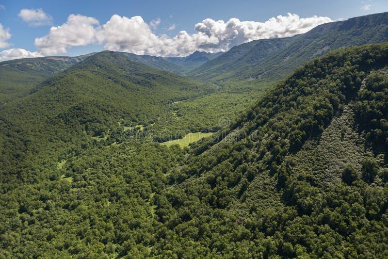 Kronotsky naturreserv på den Kamchatka halvön Sikt från helikoptern arkivfoton