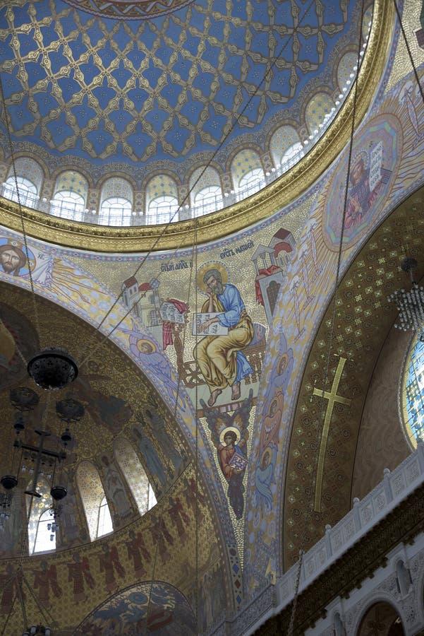 Kronstadt Россия Интерьер военноморского собора St Nicho стоковые изображения
