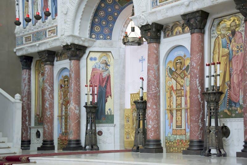 Kronstadt Россия Интерьер военноморского собора St Nicho стоковые фото