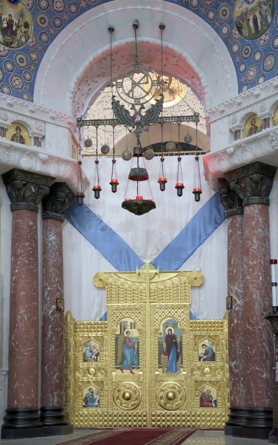 Kronstadt Россия Интерьер военноморского собора St Nichol стоковая фотография