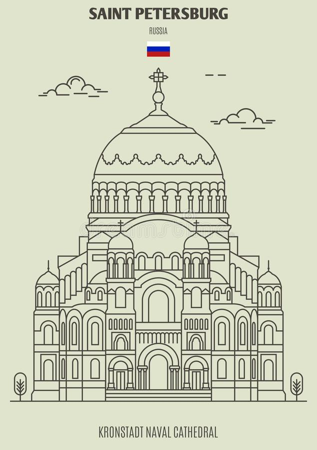 Kronstadt Naval Cathedral in Saint Petersburg, Russia. Landmark icon royalty free illustration