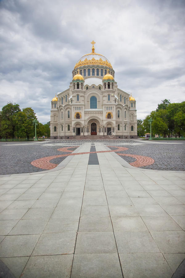 Kronstadt. St. Nicholas (Sea) Cathedral. Kronstadt. St.Peterburg area. Russian Federation. View on St. Nicholas Sea Cathedral royalty free stock photos