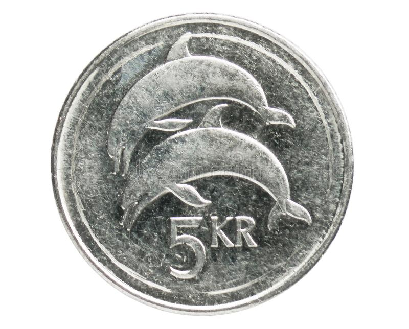 5 Kronur Dolphins coin, 1980~2008 - New Krona - Circulation serie, Bank of Iceland. Obverse, issued on 1996. Isolated on white stock images