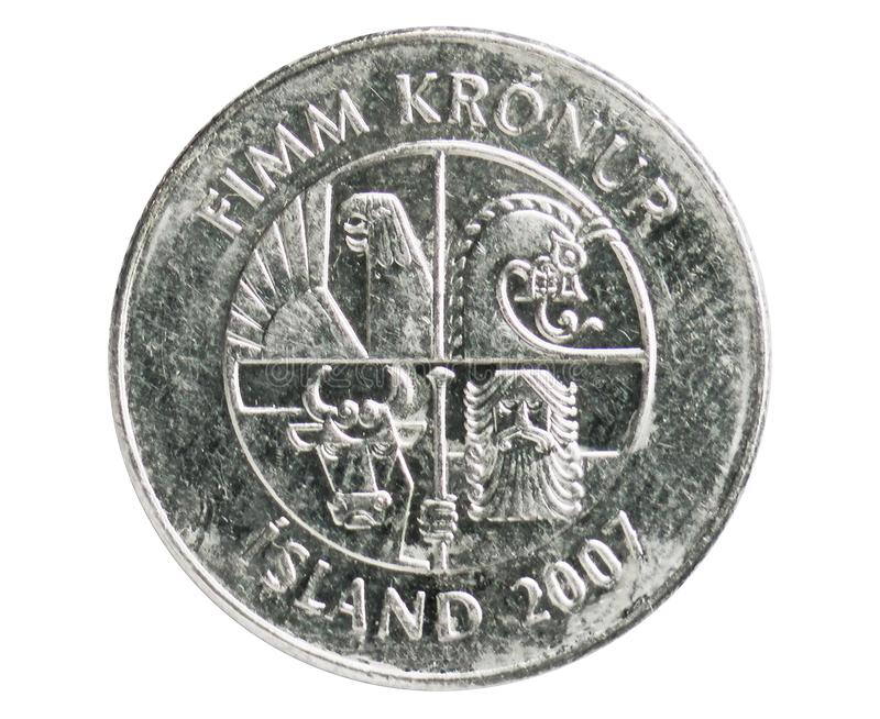 5 Kronur Dolphins coin, 1980~2008 - New Krona - Circulation serie, Bank of Iceland. Reverse, issued on 1996. Isolated on white royalty free stock image
