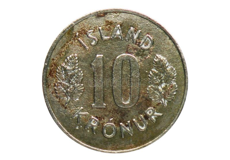 10 Kronur-Wapenschildmuntstuk, Bank van IJsland stock fotografie