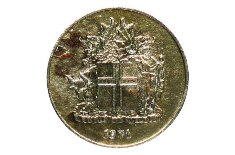 10 Kronur-Wapenschildmuntstuk, Bank van IJsland stock foto