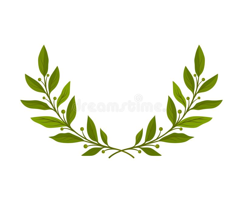 Kroon in de vorm van een halve cirkel van takken Vector illustratie op witte achtergrond stock illustratie