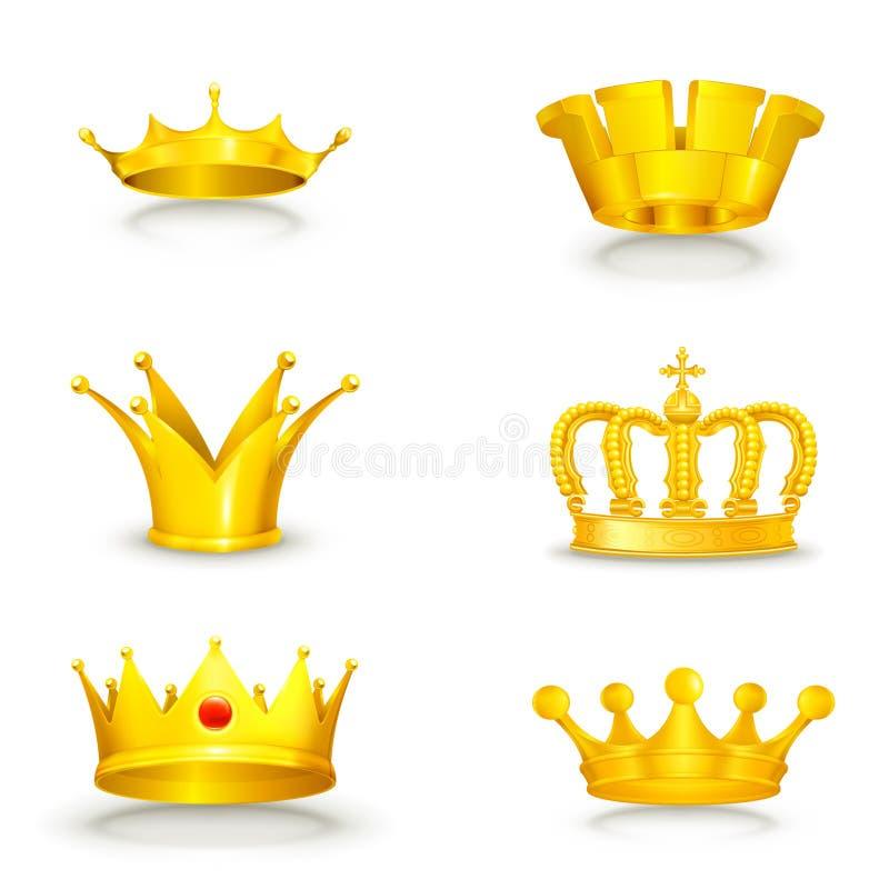 Kroon die op wit wordt geplaatst vector illustratie