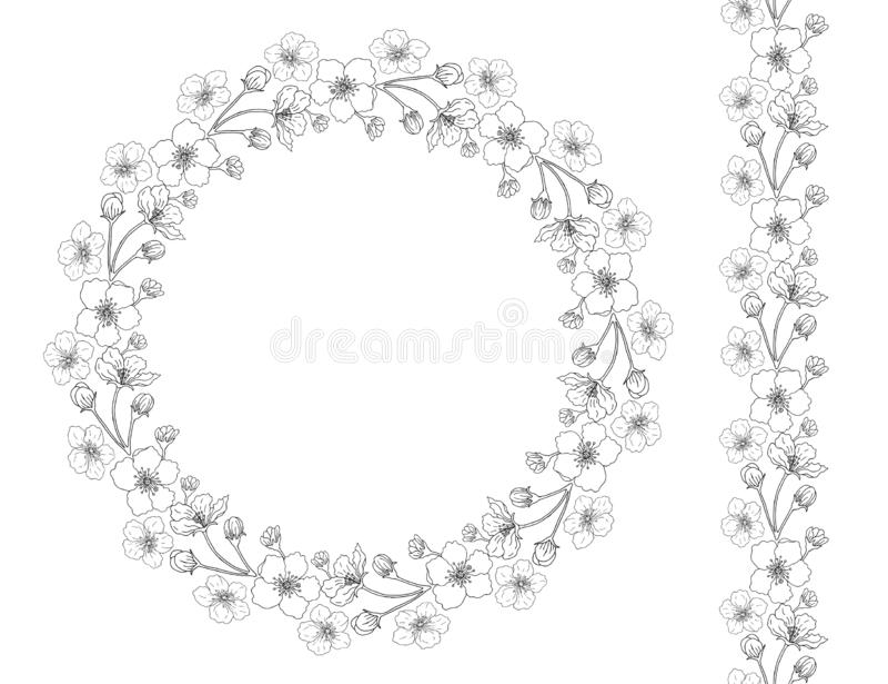 Kroon en borstel van bloemen van appel stock illustratie
