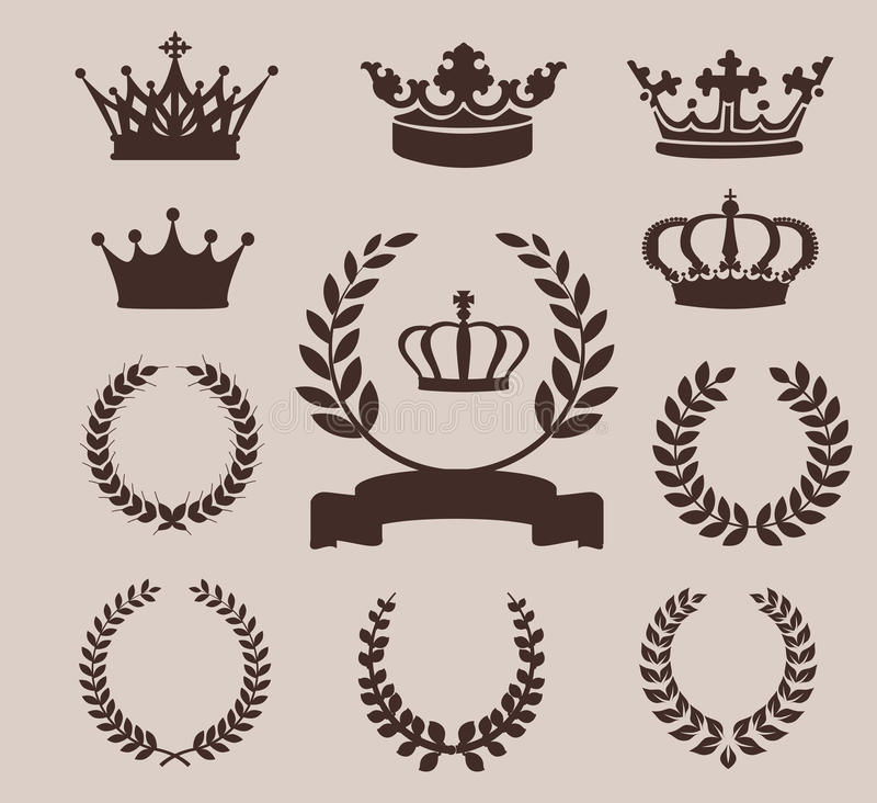Kroon en kronenpictogrammen Vector illustratie royalty-vrije stock fotografie
