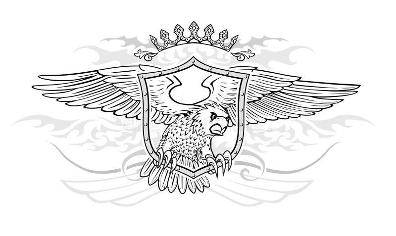 Kroon en Schild met Gevleugeld Eagle Insignia royalty-vrije illustratie